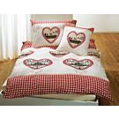 Linge de lit orné de carreaux et de cœurs – Taie d'oreiller – 65x65 cm