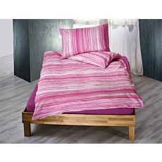 Linge de lit à fines rayures, couleur framboise
