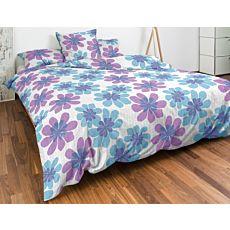 Parure de lit à motif floral en bleu et violet