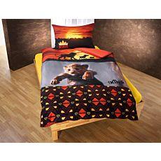 Parure de lit Le Roi des Lions, dans les coloris orange, noir et jaune