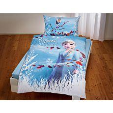 """Linge de lit """"La Reine des Neiges"""" avec Elsa et Olaf sur fond bleu clair"""