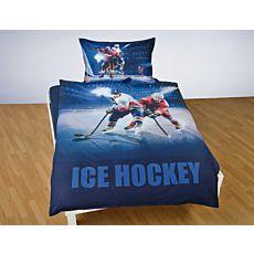 Parure de lit avec joueurs de hockey sur la glace