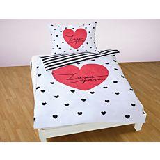 Parure de lit avec motif de cœur et Love you, en noir-blanc-rouge