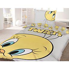 Linge de lit avec visage de Tweety rigolo sur fond gris clair