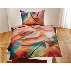 Linge de lit avec attrape-rêves en orange et vert