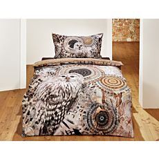 Linge de lit dans les tons de brun, orné de chouettes et de mandalas