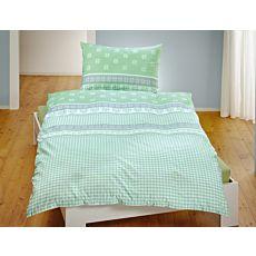 Parure de lit à carreaux avec bordures ornées d'étoiles et de cœurs