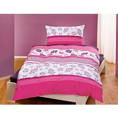 Linge de lit rayé à motif floral