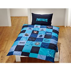 Parure de lit bleu sur le thème du jeu en ligne Fortnite