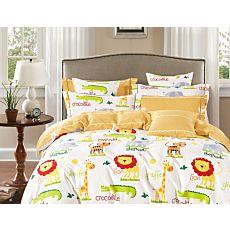 Parure de lit agrémenté d'animaux rigolos aux coloris pimpants