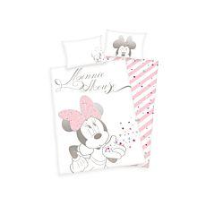 Parure de lit avec Minnie dans les coloris blanc-rose-noir