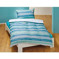 Linge de lit orné de différentes rayures, en bleu et menthe