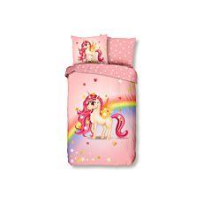 Parure de lit avec jolie licorne et arc-en-ciel multicolore