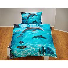 Linge de lit orné de dauphins et de poissons sur fond marin