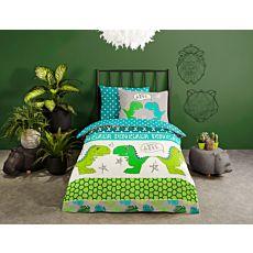 Parure de lit avec dinos sympas dans les tons de vert