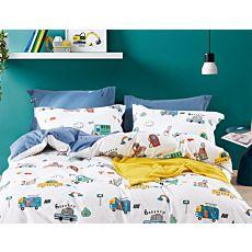 Linge de lit avec autos et maisons multicolores