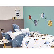 Linge de lit avec planètes, fusées et vaisseaux spatiaux multicolores