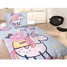 Parure de lit avec Peppa Pig sur une licorne magique