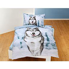 Parure de lit avec husky dans la neige