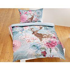 Parure de lit avec cerf et motif fleuri romantique