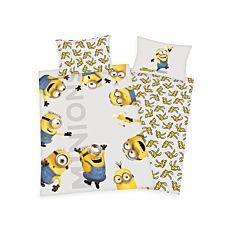 Parure de lit avec minions jaune-gris