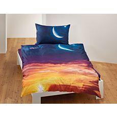 Parure de lit avec ciel du soir et croissant de lune