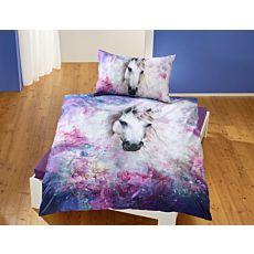 Parure de lit avec licorne magique dans des tons de violet