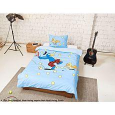 Parure de lit avec Globi jouant au tennis