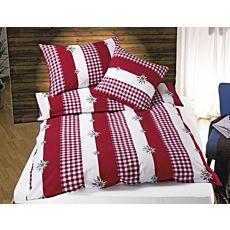 Linge de lit rouge et blanc avec edelweiss