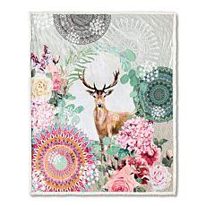 Couverture douillette et moelleuse en fibre polaire avec cerf et motif de mandalas
