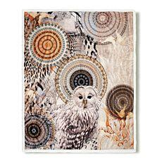 Couverture douillette et moelleuse en fibre polaire avec hibou et motif de mandalas