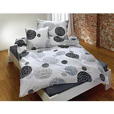 Linge de lit avec motif de cercles gris et noirs sur fond blanc