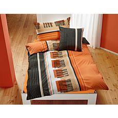 Linge de lit au motif branché en orange-anthracite