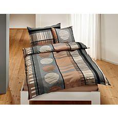 Parure de lit noir-brun-gris à motif de rayures et de cercles