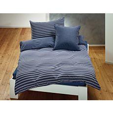 Parure de lit en jersey à fines rayures avec liseré