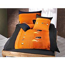 Linge de lit en orange et anthracite, orné d'un motif moderne