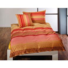 Parure de lit en jaune-orange à rayures transversales