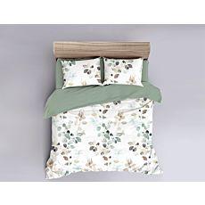 Parure de lit en satin avec feuilles style aquarelle