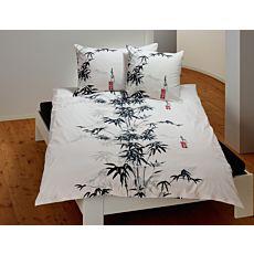 Parure de lit orné d'un bambou en noir-gris