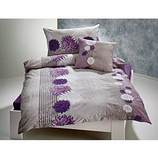 Linge de lit en gris clair et lilas avec beau motif floral