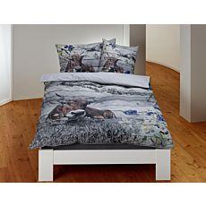 Parure de lit avec vache et chaîne de montagnes, allure lambris de bois