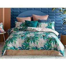 Parure de lit KAS orné de feuilles en vert et rose pâle en coton