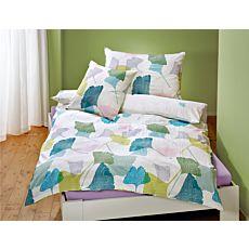 Parure de lit agrémenté de feuilles de ginkgo colorées sur fond blanc