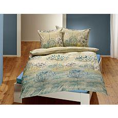 Parure de lit avec motif botanique en vert tilleul