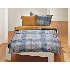 Parure de lit à carreaux bleu-gris