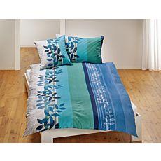 Parure de lit à rayures longitudinales et à motif floral