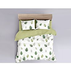 Parure de lit blanc agrémenté de feuilles vertes