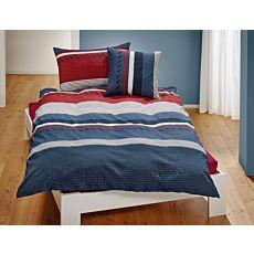 Parure de lit à rayures, en rouge et gris