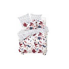 Parure de lit avec motif de feuilles colorées sur fond blanc