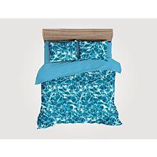 Linge de lit au look aquatique en bleu-blanc